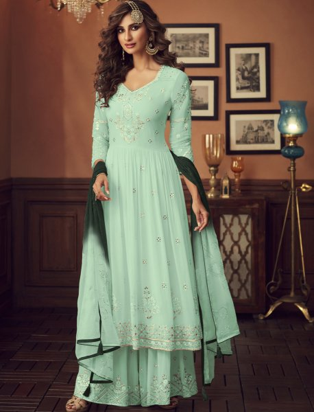 Sky Blue Faux Georgette Embroidered Festival Sharara Pant Kameez