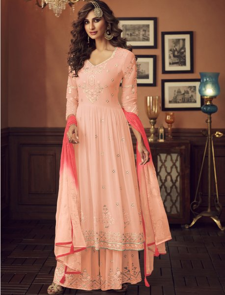 Coral Pink Faux Georgette Embroidered Festival Sharara Pant Kameez
