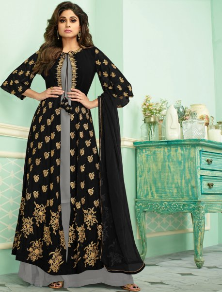 Black Faux Georgette Embroidered Party Palazzo Pant Kameez
