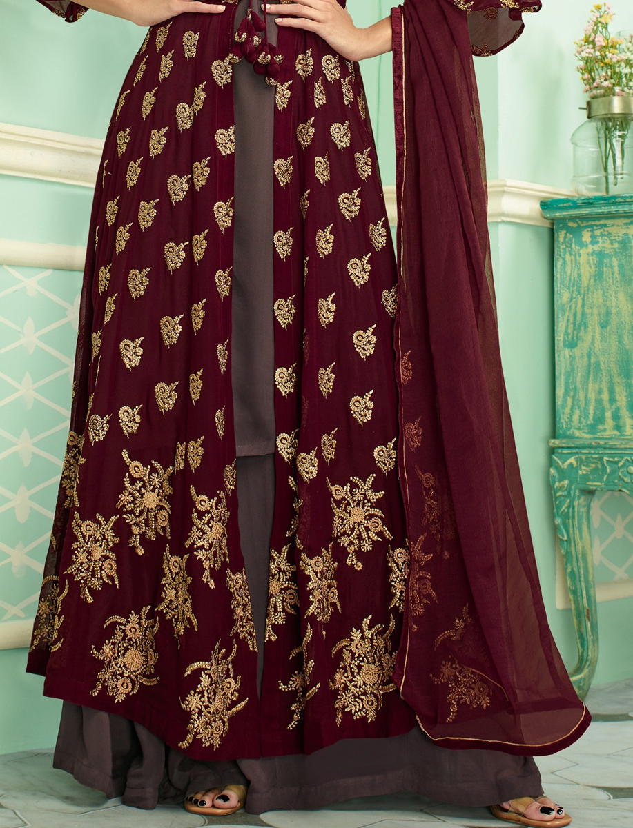 Maroon Faux Georgette Embroidered Party Palazzo Pant Kameez