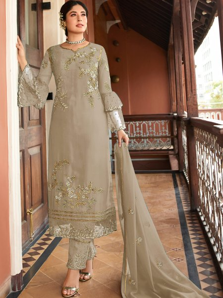 Beige Yellow Satin Georgette Embroidered Festival Pant Kameez