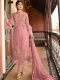 Salmon Pink Satin Georgette Embroidered Festival Pant Kameez