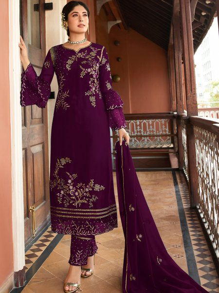 Purple Satin Georgette Embroidered Festival Pant Kameez