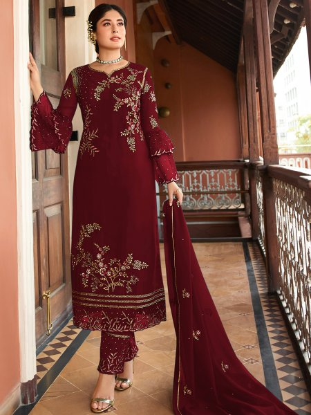 Maroon Satin Georgette Embroidered Festival Pant Kameez