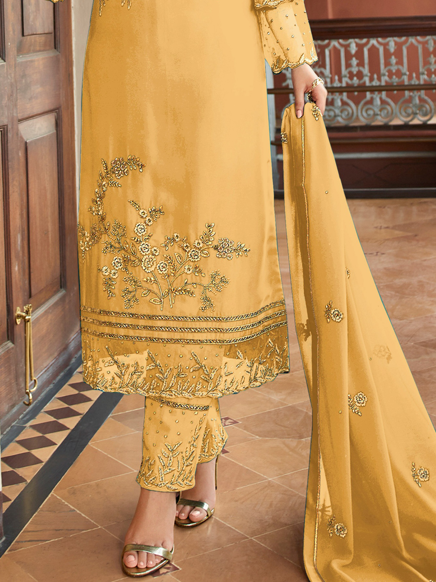 Light Yellow Satin Georgette Embroidered Festival Pant Kameez