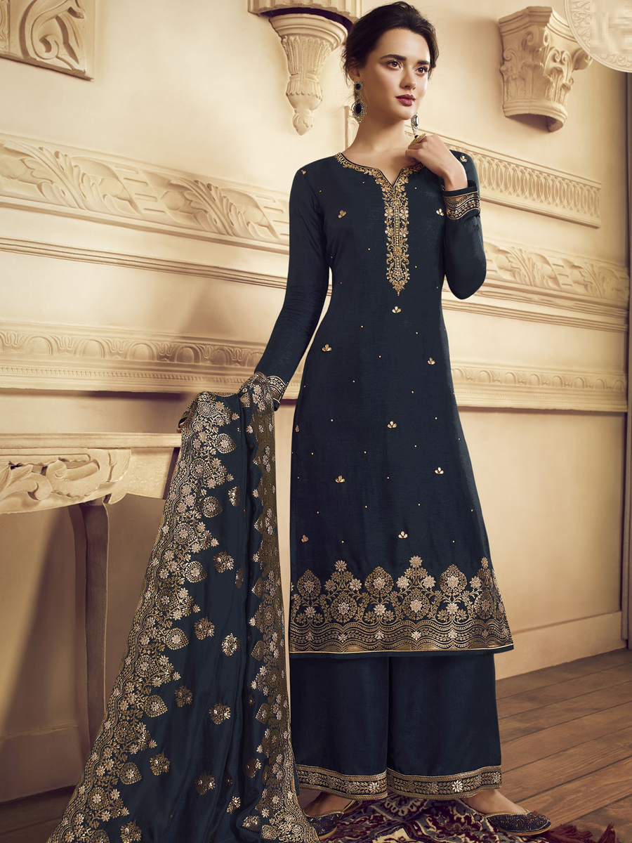 Navy Blue Crepe Embroidered Festival Palazzo Pant Kameez