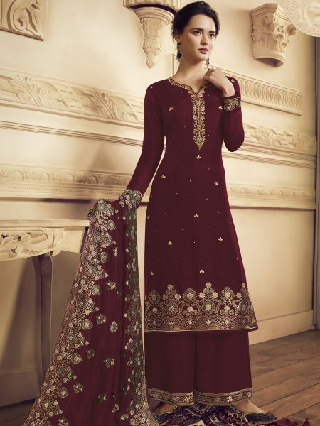 Maroon Crepe Embroidered Festival Palazzo Pant Kameez