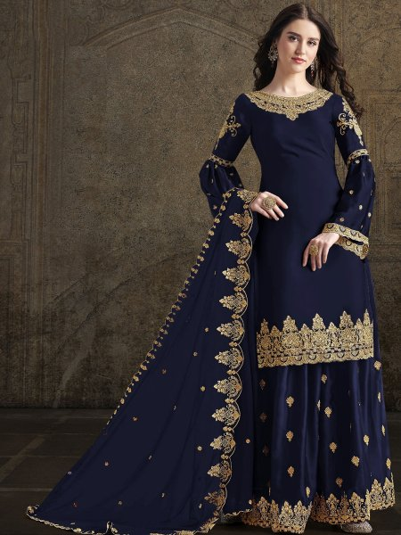 Navy Blue Rangoli Georgette Embroidered Festival Sharara Pant Kameez