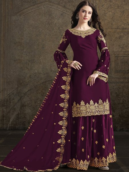 Byzantium Purple Rangoli Georgette Embroidered Festival Sharara Pant Kameez