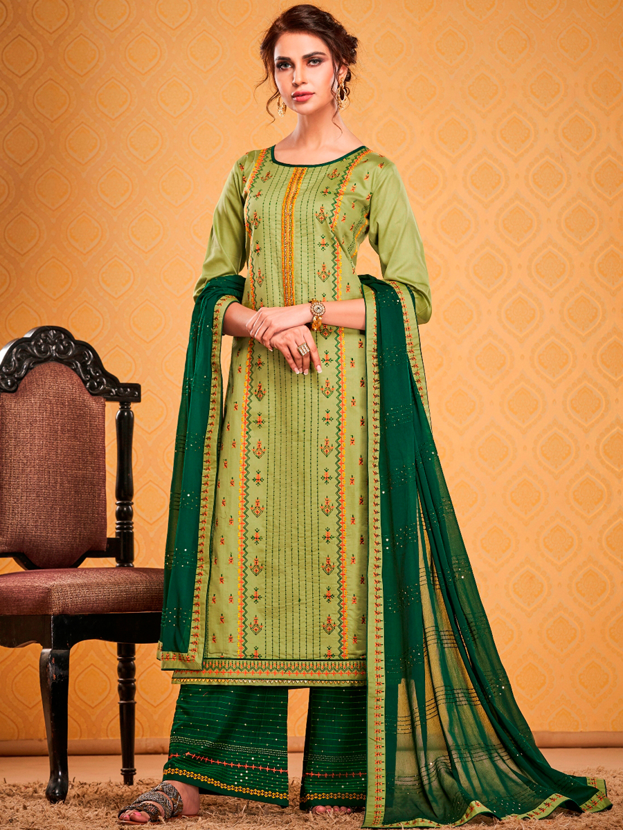 Light Green Cotton Silk Embroidered Festival Palazzo Pant Kameez