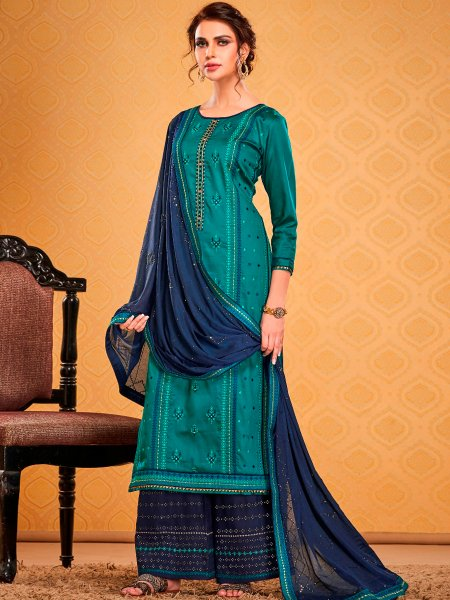 Pine Green Cotton Silk Embroidered Festival Palazzo Pant Kameez