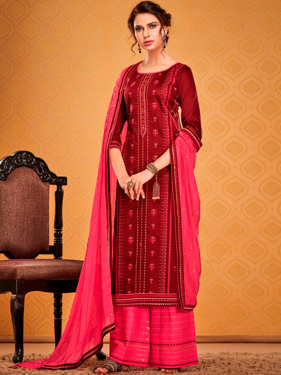 Maroon Cotton Silk Embroidered Festival Palazzo Pant Kameez