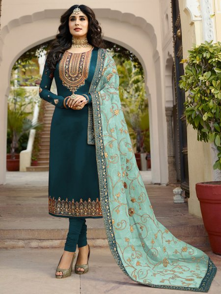 Midnight Green Satin Georgette Embroidered Festival Churidar Pant Kameez