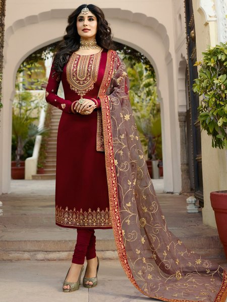Carnelian Red Satin Georgette Embroidered Festival Churidar Pant Kameez