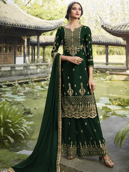 Hunter Green Faux Georgette Embroidered Festival Sharara Pant Kameez