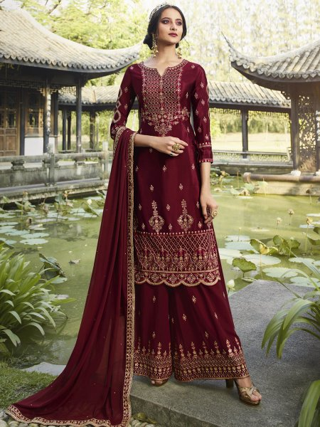 Maroon Faux Georgette Embroidered Festival Sharara Pant Kameez