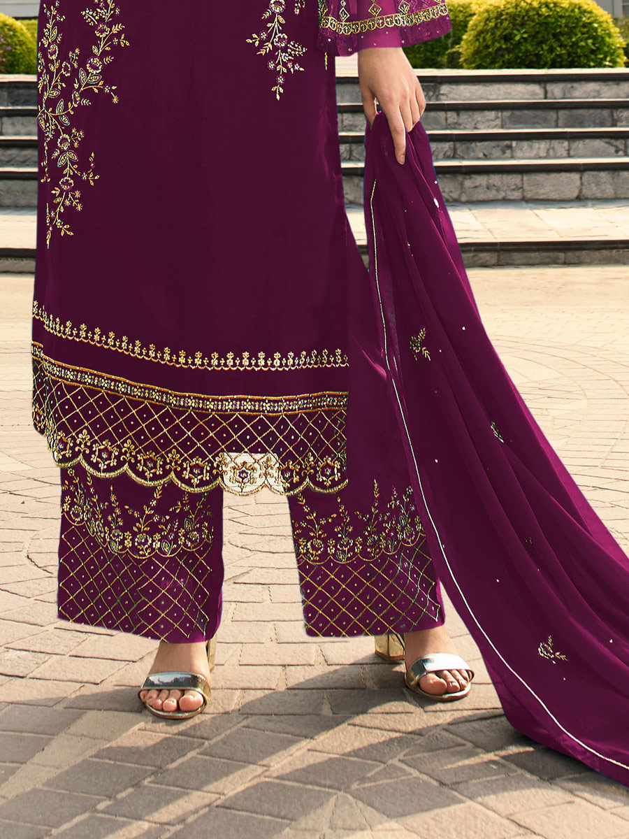 Wine Red Faux Georgette Embroidered Festival Palazzo Pant Kameez
