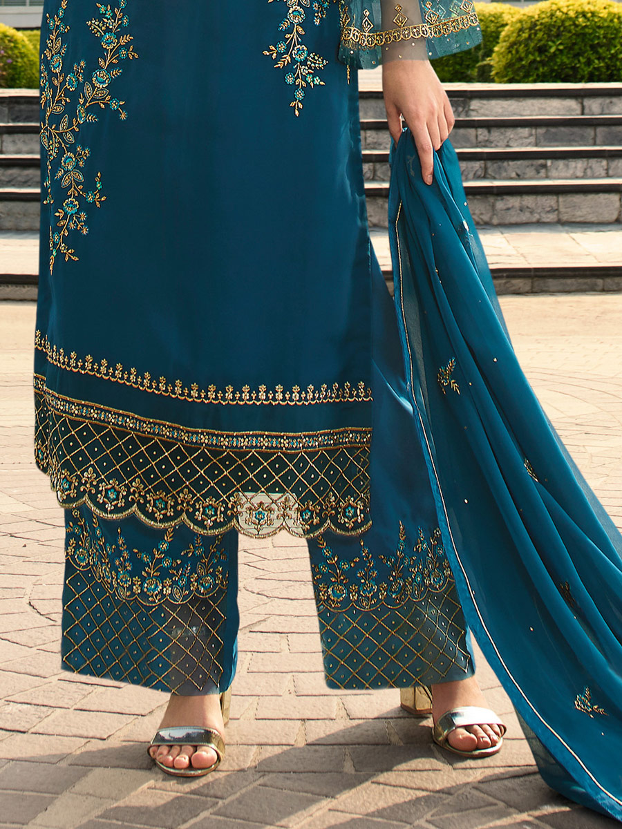 Teal Blue Faux Georgette Embroidered Festival Palazzo Pant Kameez