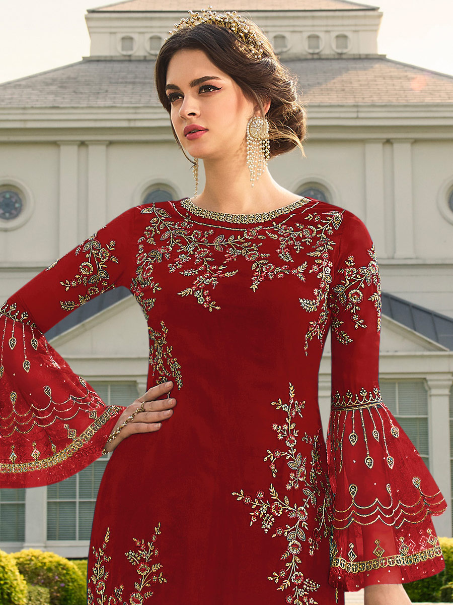 Venetian Red Faux Georgette Embroidered Festival Palazzo Pant Kameez