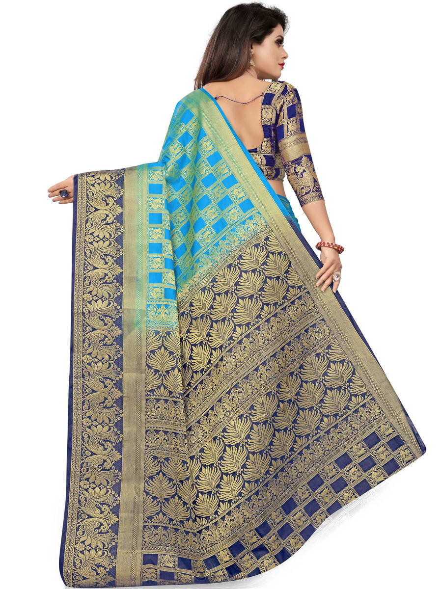 Deep Sky Blue Silk Handwoven Festival Saree