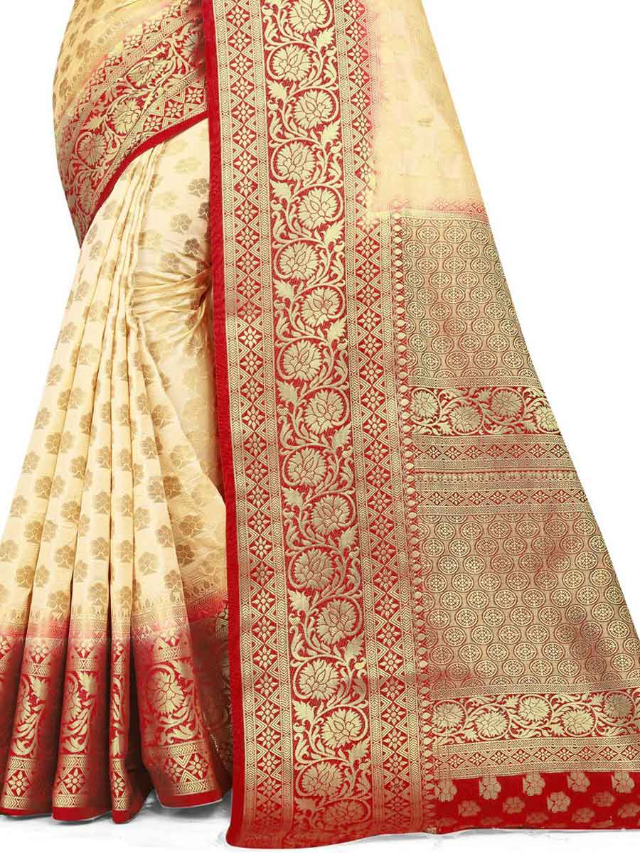 Cream Yellow Silk Handwoven Festival Saree