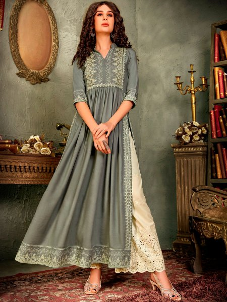 Gray Rayon Embroidered Festival Long Kurti