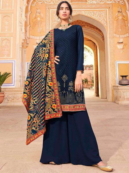 Navy Blue Faux Georgette Embroidered Party Palazzo Pant Kameez