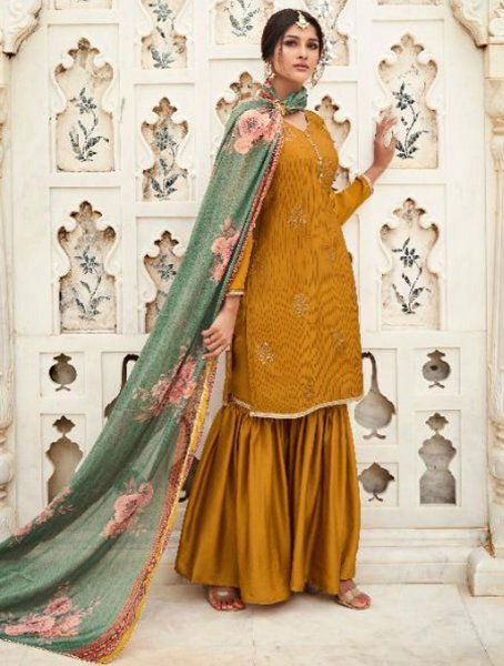 Mustard Yellow Crepe Silk Embroidered Party Sharara Pant Kameez