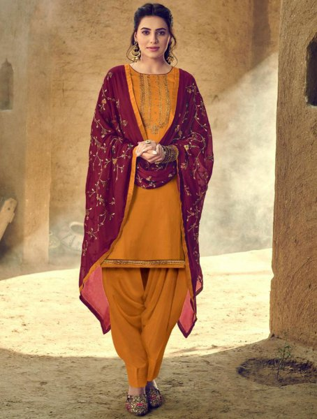Mustard Yellow Cotton Embroidered Festival Patiala Pant Kameez