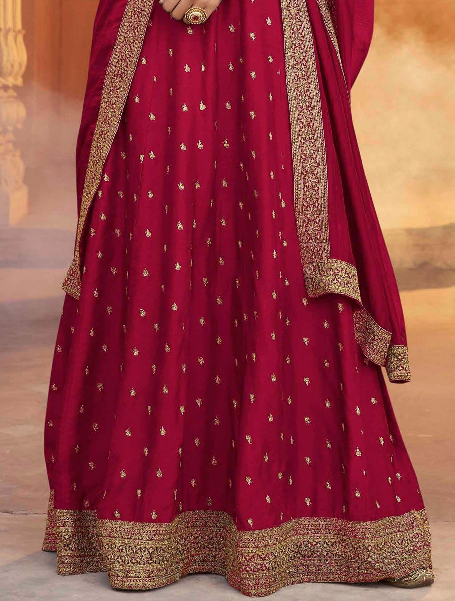 Dark Pink Art Silk Embroidered Festival Gown