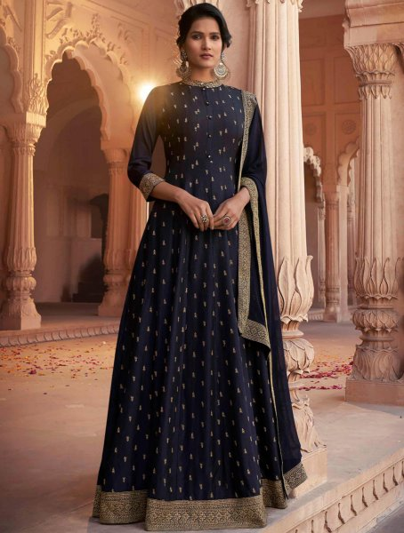 Navy Blue Art Silk Embroidered Festival Gown