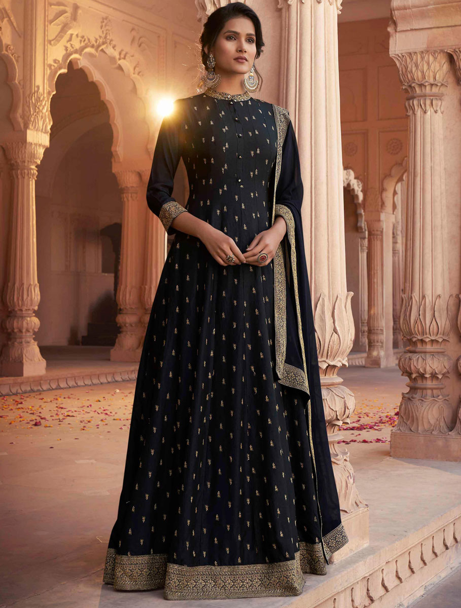 Black Art Silk Embroidered Festival Gown