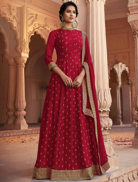 Rose Madder Red Art Silk Embroidered Festival Gown
