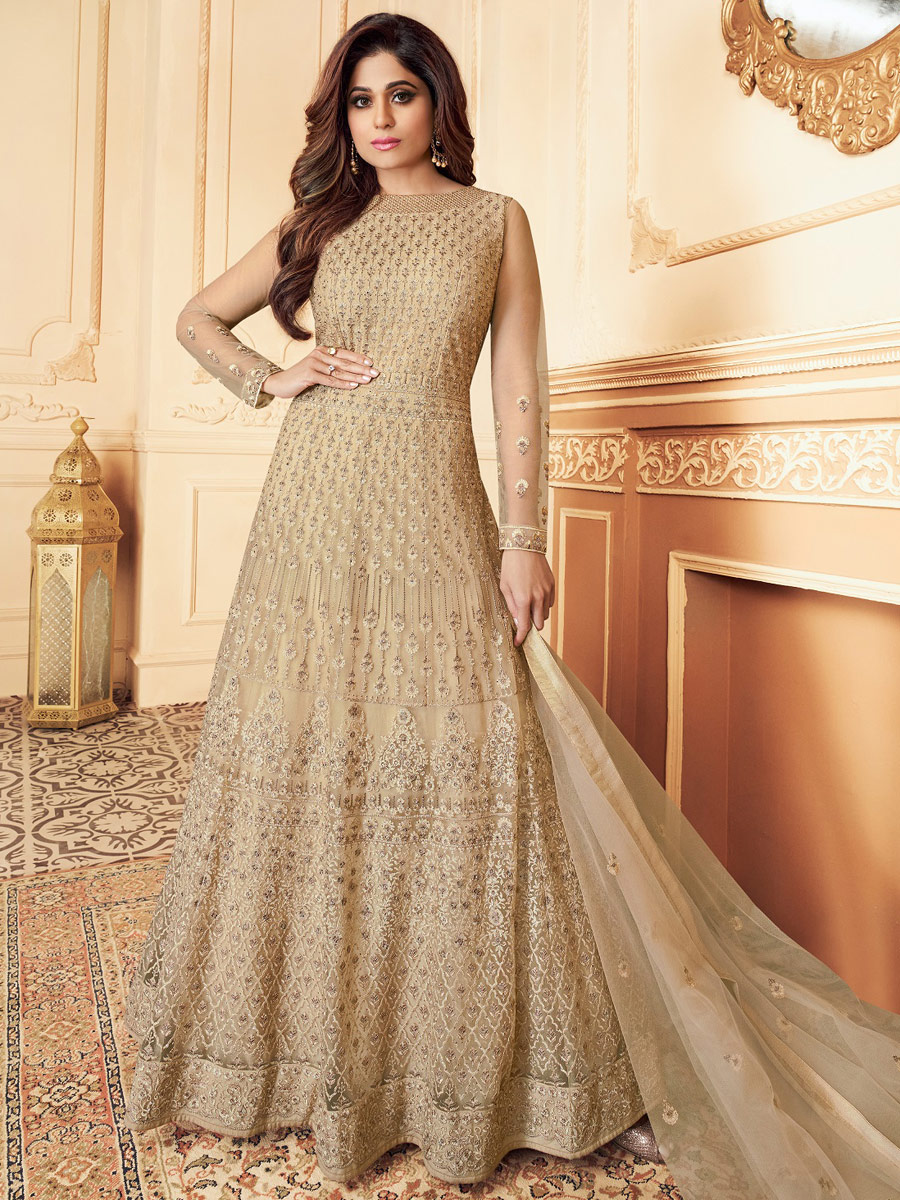 Beige Yellow Net Embroidered Party Lawn Kamee
