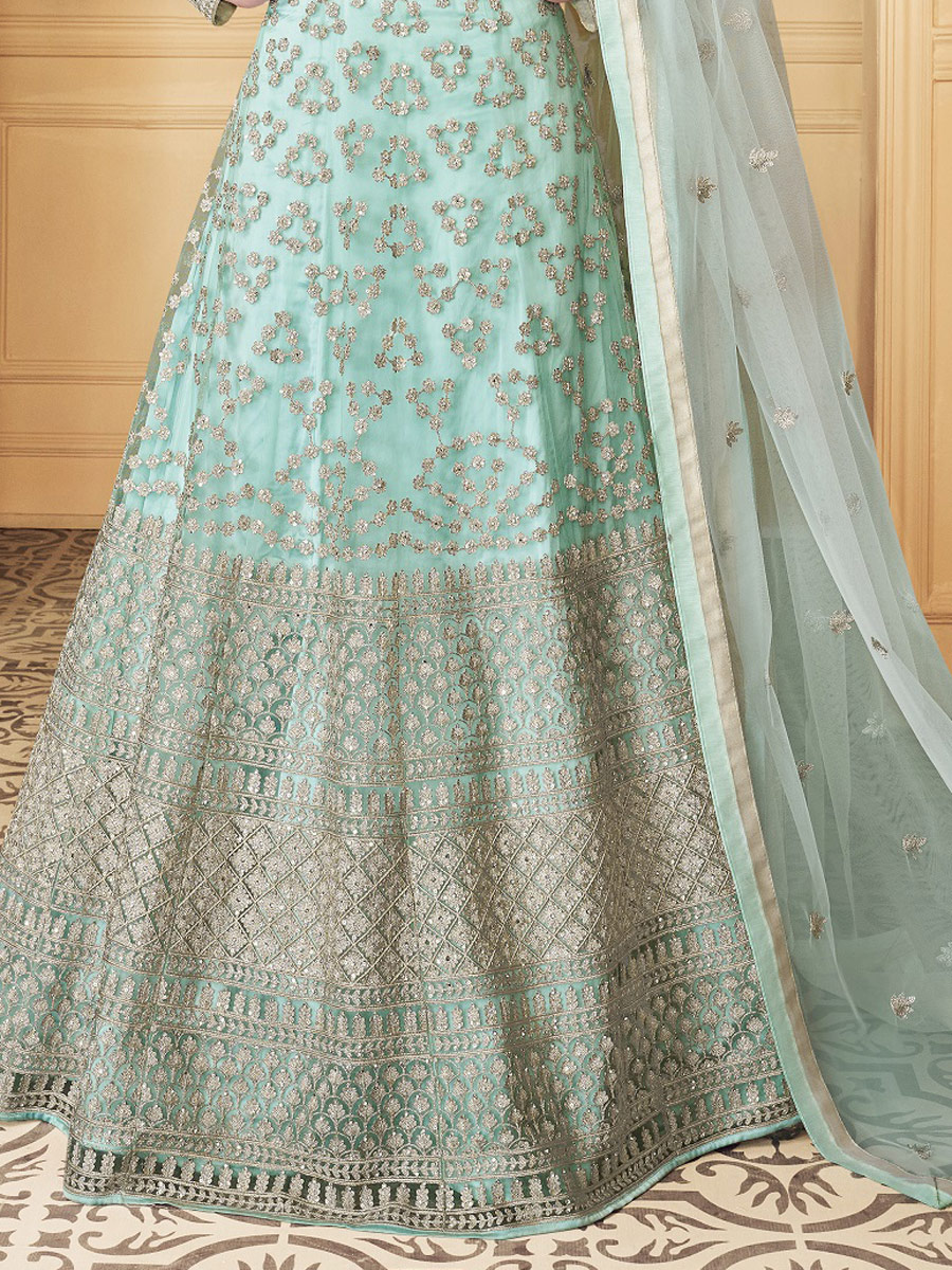 Cambridge Blue Net Embroidered Party Lawn Kamee