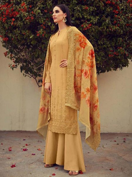 Mustard Yellow Faux Georgette Embroidered Party Palazzo Pant Kameez