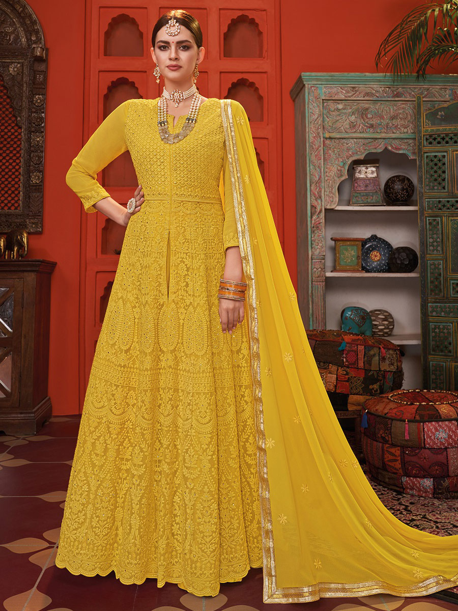 Mustard Yellow Faux Georgette Embroidered Party Lawn Kameez