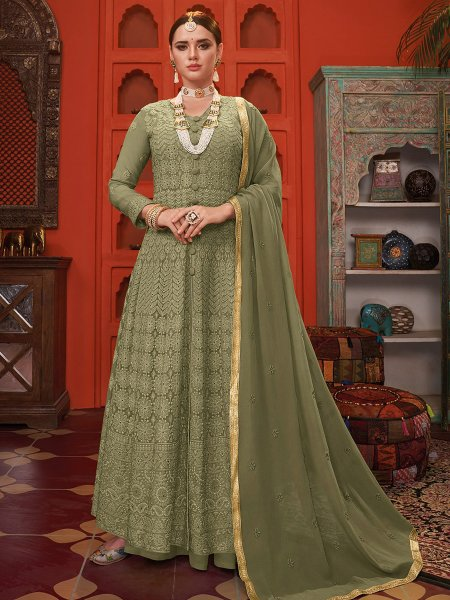 Camouflage Green Faux Georgette Embroidered Party Lawn Kameez