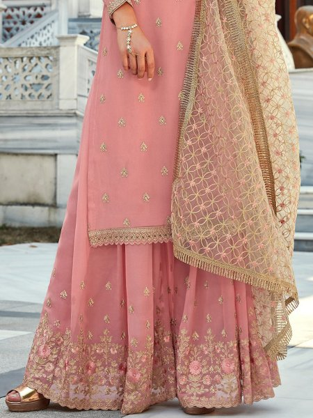 Light Pink Faux Georgette Embroidered Party Palazzo Pant Kameez