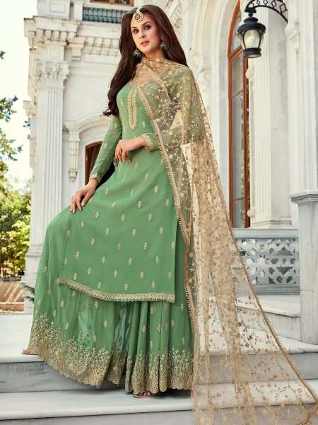 Yellow-Green Faux Georgette Embroidered Party Palazzo Pant Kameez