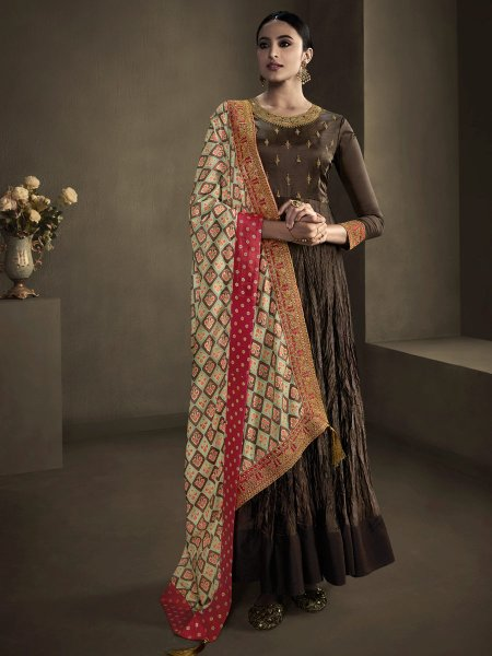 Russet Brown Satin Georgette Embroidered Party Gown
