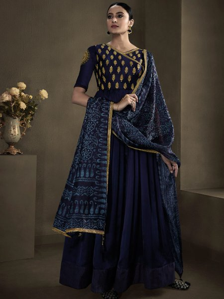 Navy Blue Satin Georgette Embroidered Party Gown