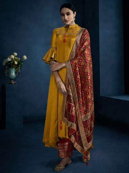 Mustard Yellow Satin Georgette Embroidered Party Palazzo Pant Kameez