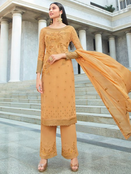 Mustard Yellow Faux Georgette Embroidered Party Pant Kameez