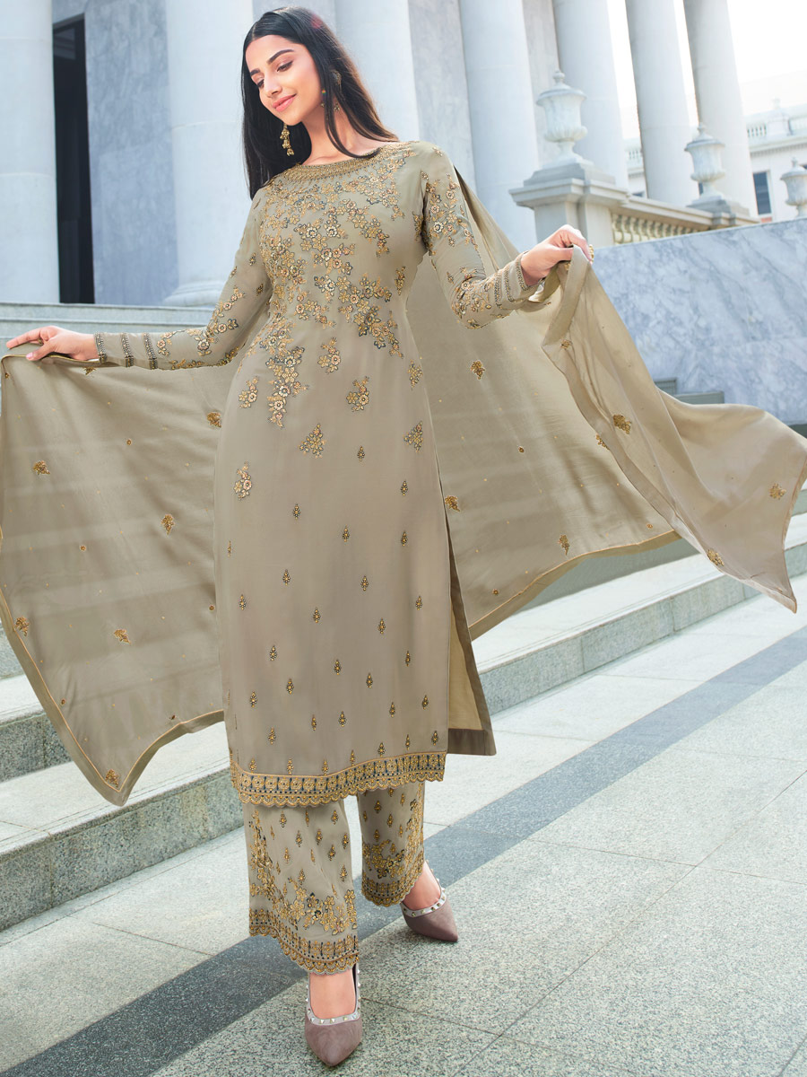 Gray Faux Georgette Embroidered Party Pant Kameez