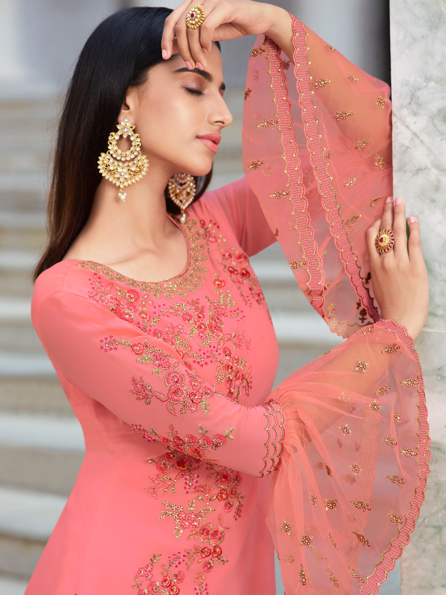 Salmon Pink Faux Georgette Embroidered Party Pant Kameez