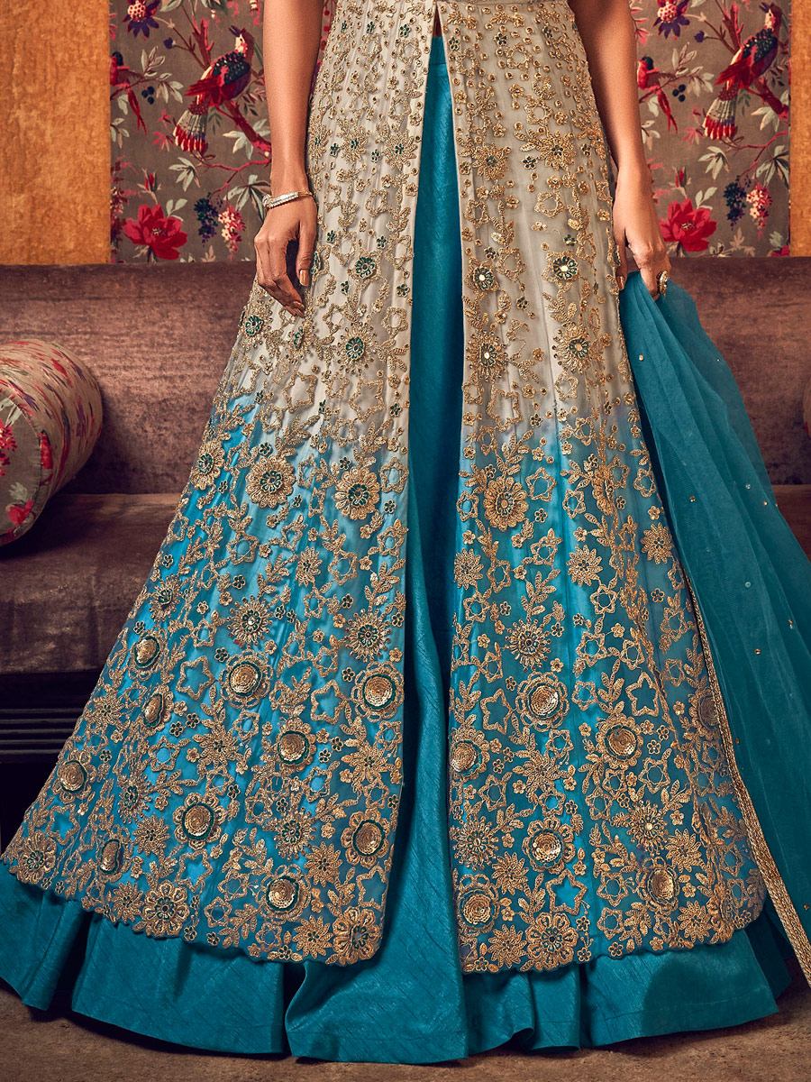 Beige Yellow and Cerulean Blue Banglori and Net Embroidered Wedding Lehenga Choli