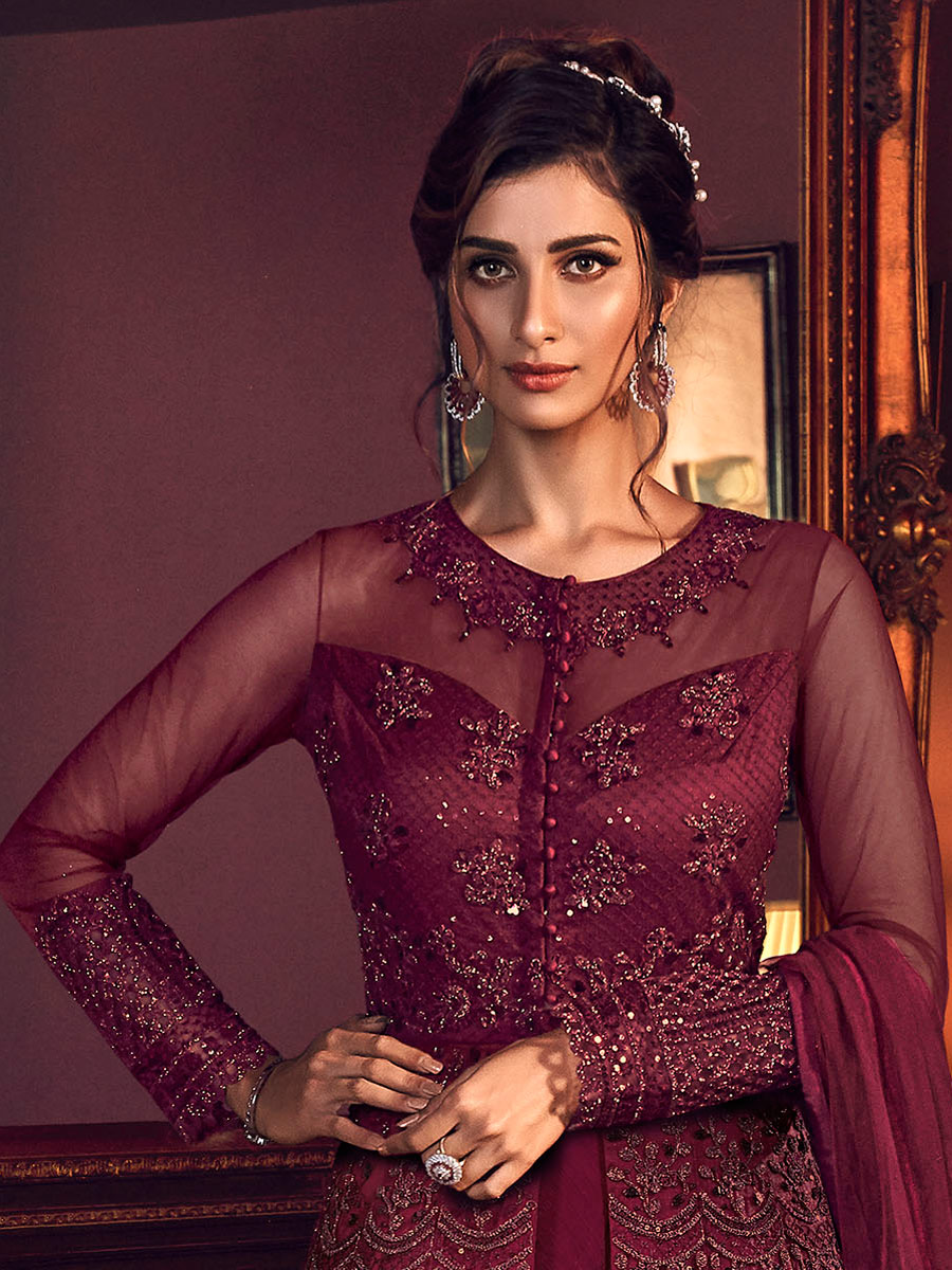 Wine Red Net Embroidered Wedding Pant Kameez