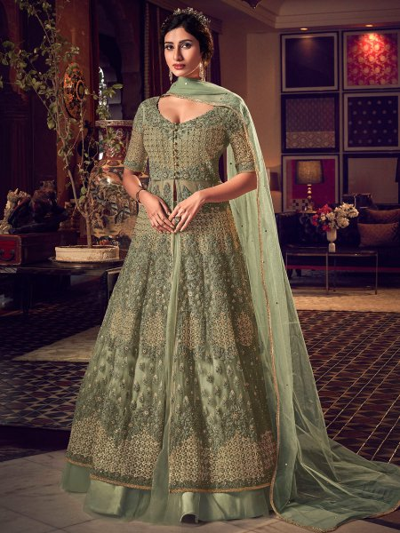 Asparagus Green Net Embroidered Wedding Lehenga Choli