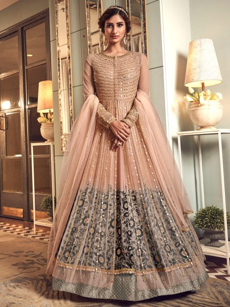 Coral Pink Net Embroidered Wedding Lawn Kameez